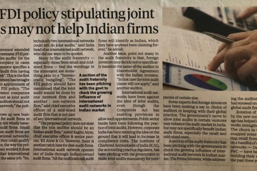 Why FDI Policy Stipulating Joint Audits may not help Indian Firm